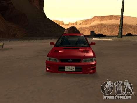 Subaru Impreza Wagon para GTA San Andreas vista interior