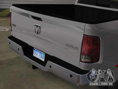 Dodge Ram 3500 Laramie 2012 para GTA Vice City vista traseira