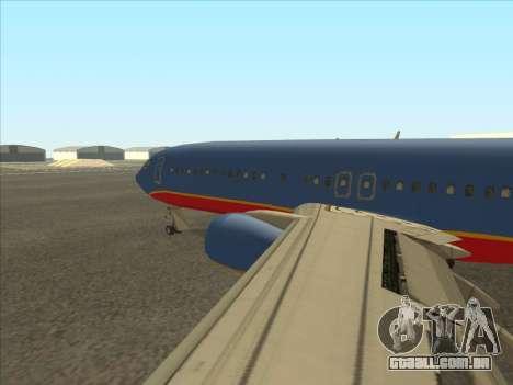 Boeing 737 Southwest Airlines para GTA San Andreas traseira esquerda vista