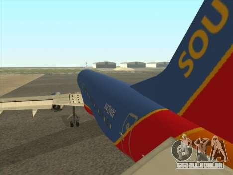 Boeing 737 Southwest Airlines para GTA San Andreas vista direita