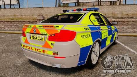 BMW 550i Metropolitan Police [ELS] para GTA 4 traseira esquerda vista