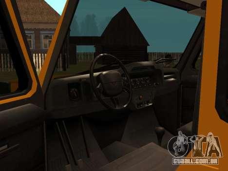 UAZ-3159 bares para GTA San Andreas vista traseira