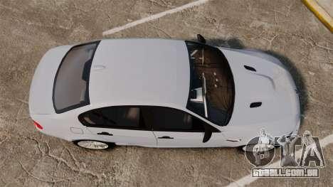 BMW M3 Unmarked Police [ELS] para GTA 4 vista direita