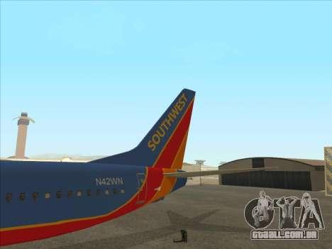 Boeing 737 Southwest Airlines para GTA San Andreas vista superior