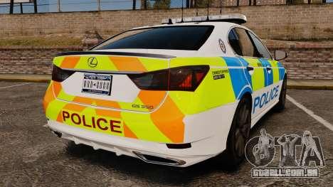 Lexus GS350 West Midlands Police [ELS] para GTA 4 traseira esquerda vista