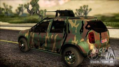 Dacia Duster Army Skin 2 para GTA San Andreas esquerda vista