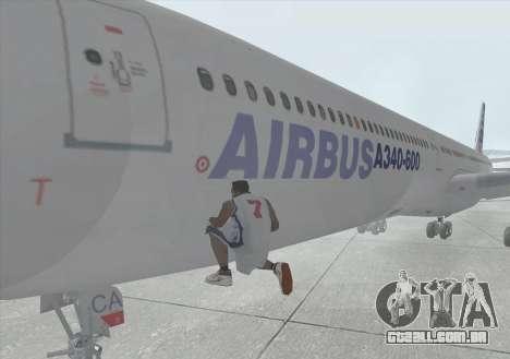 Airbus A340-600 para GTA San Andreas vista interior