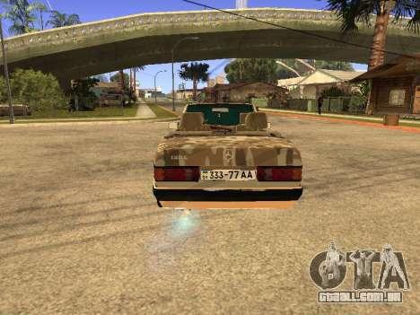Mercedes-Benz 190E Army para GTA San Andreas vista direita