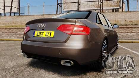 Audi S4 2013 Unmarked Police [ELS] para GTA 4 traseira esquerda vista