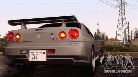 Nissan Skyline GT-R R34 V-Spec Lexani Rims para GTA San Andreas traseira esquerda vista