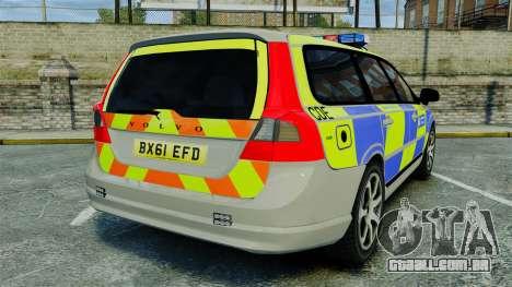 Volvo V70 Metropolitan Police [ELS] para GTA 4 traseira esquerda vista