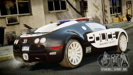 Bugatti Veyron 16.4 Police NFS Hot Pursuit para GTA 4 esquerda vista