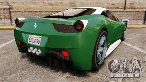 Ferrari 458 Italia para GTA 4 traseira esquerda vista