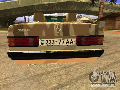 Mercedes-Benz 190E Army para GTA San Andreas esquerda vista