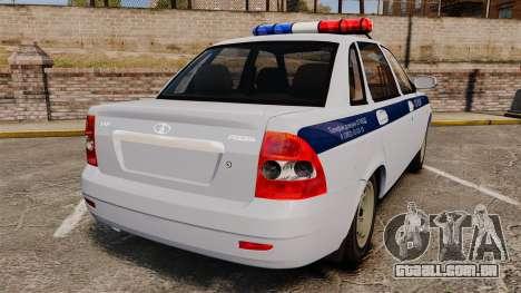 VAZ-2170 Polícia para GTA 4 traseira esquerda vista