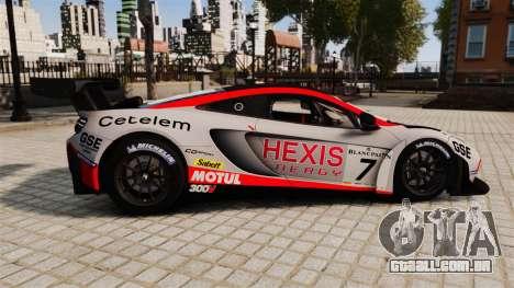 McLaren MP4-12C GT3 para GTA 4 esquerda vista