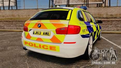 BMW 530d Touring Lancashire Police [ELS] para GTA 4 traseira esquerda vista