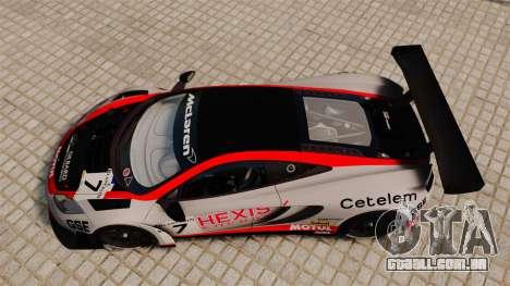 McLaren MP4-12C GT3 para GTA 4 vista direita