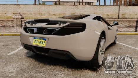 McLaren MP4-12C 2012 [EPM] para GTA 4 traseira esquerda vista