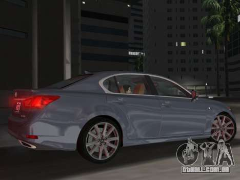 Lexus GS350 F Sport 2013 para GTA Vice City vista lateral