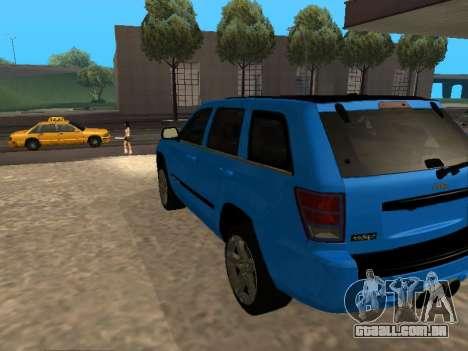 Jeep Grand Cherokee SRT8 Restyling M para GTA San Andreas traseira esquerda vista