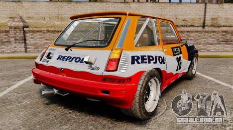 Renault 5 Maxi Turbo para GTA 4 traseira esquerda vista