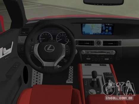 Lexus GS350 F Sport 2013 para GTA Vice City vista inferior