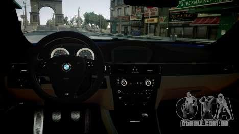 BMW M3 E92 para GTA 4 vista de volta