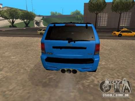 Jeep Grand Cherokee SRT8 Restyling M para GTA San Andreas vista direita