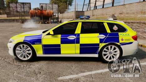 BMW 530d Touring Lancashire Police [ELS] para GTA 4 esquerda vista