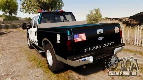 Ford F-250 Super Duty Police [ELS] para GTA 4 traseira esquerda vista