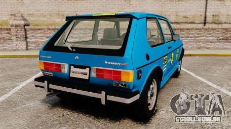 Volkswagen Rabbit GTI 1984 para GTA 4 traseira esquerda vista