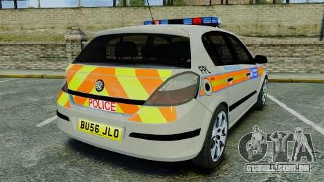 Vauxhall Astra Metropolitan Police [ELS] para GTA 4 traseira esquerda vista