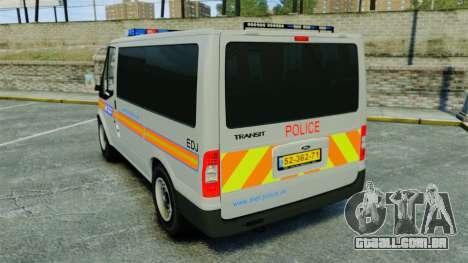 Ford Transit Metropolitan Police [ELS] para GTA 4 traseira esquerda vista