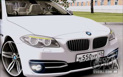BMW 550 F10 xDrive para GTA San Andreas traseira esquerda vista