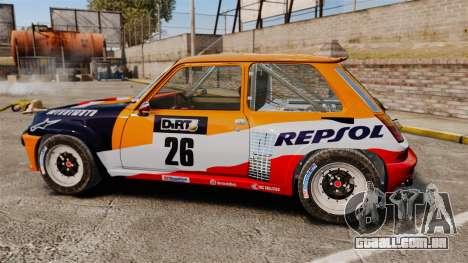 Renault 5 Maxi Turbo para GTA 4 esquerda vista