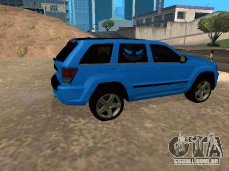 Jeep Grand Cherokee SRT8 Restyling M para GTA San Andreas vista traseira