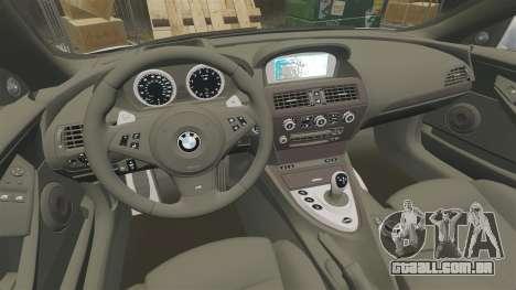 BMW M6 Vossen para GTA 4 vista interior