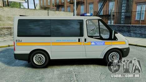 Ford Transit Metropolitan Police [ELS] para GTA 4 esquerda vista