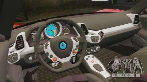 Ferrari 458 Italia para GTA 4 vista lateral
