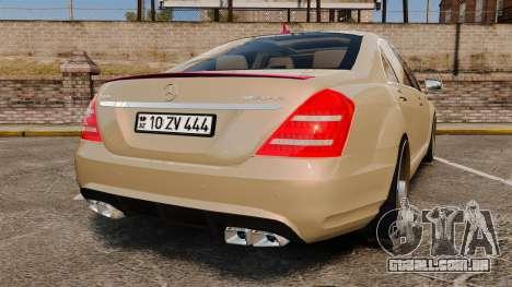 Mercedes-Benz S65 (W221) para GTA 4 traseira esquerda vista