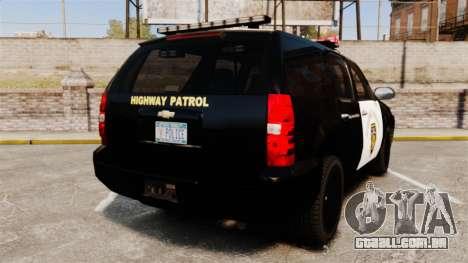 Chevrolet Tahoe 2007 LCHP [ELS] para GTA 4 traseira esquerda vista
