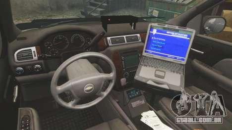 Chevrolet Tahoe 2007 LCHP [ELS] para GTA 4 vista de volta