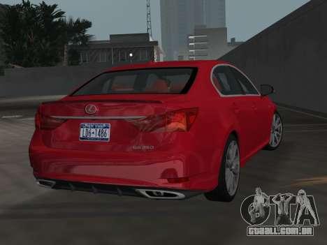 Lexus GS350 F Sport 2013 para GTA Vice City deixou vista