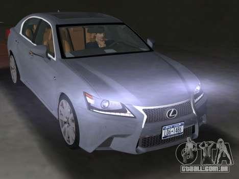 Lexus GS350 F Sport 2013 para GTA Vice City vista traseira esquerda