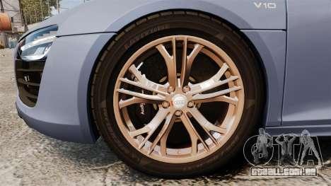 Audi R8 V10 plus Coupe 2014 [EPM] para GTA 4 vista de volta