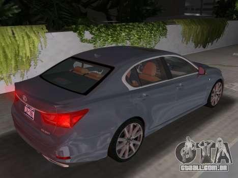 Lexus GS350 F Sport 2013 para GTA Vice City vista interior