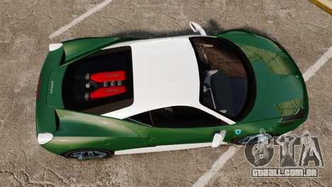 Ferrari 458 Italia para GTA 4 vista direita