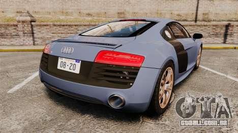 Audi R8 V10 plus Coupe 2014 [EPM] para GTA 4 traseira esquerda vista