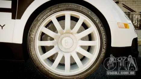 Bugatti Veyron 16.4 Police NFS Hot Pursuit para GTA 4 traseira esquerda vista